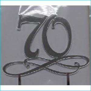 Cake Topper Silver Number 70 Style B