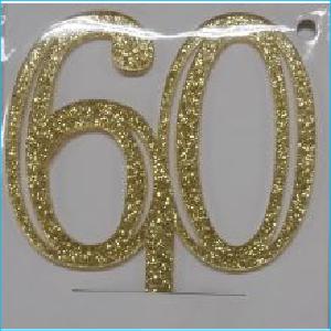Cake Topp Gold Glitter Number 60