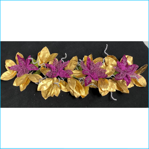 Garland Gold Leaf & Purple Flower 140cm