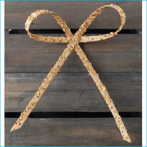 Bow Clip Gold Glitter 25cm