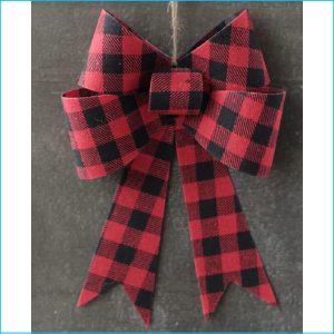 Hanging Bowtie Gingham Red & Black 12""