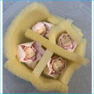 Sugar Decoration Pink Baby Rosette Pk 4