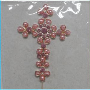 Cake Topper Cross Pink Diamante Pearl