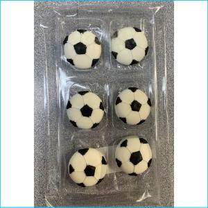 Sugar Figurine Soccer Balls Pk 6