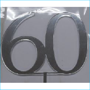 Cake Topper Silver Number 60 Style A