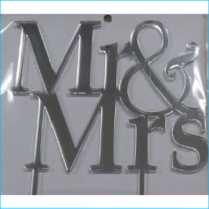 Cake Topper Mr & Mrs Silver
