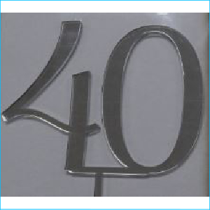 Cake Topper Silver Number 40 Style A