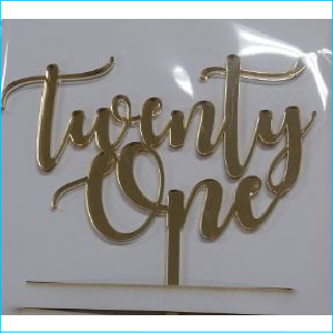 Cake Topper Twenty One Gold