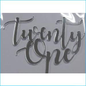 Cake Topper Twenty One Silver