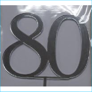 Cake Topper Silver Number 80