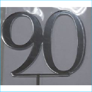 Cake Topper Silver Number 90