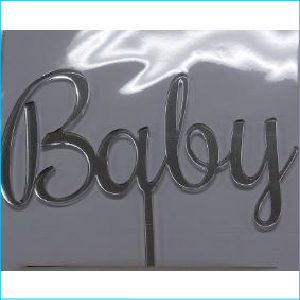 Cake Topper Baby Silver
