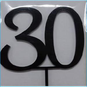 Cake Topper Black Number 30