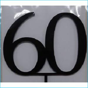 Cake Topper Black Number 60