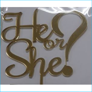 Cake Topper He or She? Gold