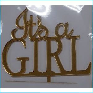 Cake Topper It's a Girl Gold