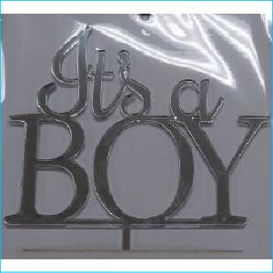 Cake Topper It's a Boy Silver