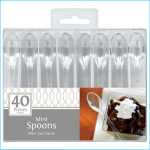 """Catering Mini Spoons Clear 4"""" Pk 40"""
