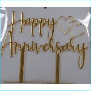Cake Topper Happy Anniversary Gold