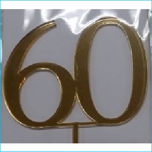 Cake Topper Gold Number 60