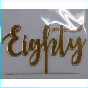 Cake Topper Eighty Gold