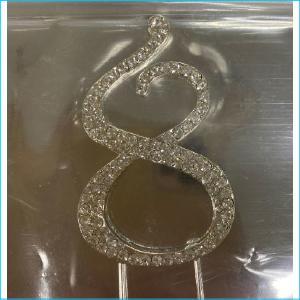 Cake Topper Diamante Number 8