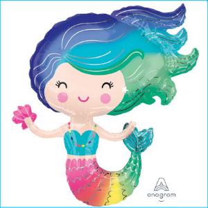Foil Mermaid Colourful 76cm