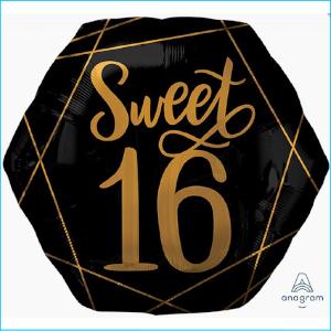Foil 15th Birthday Black & Gold 58cm