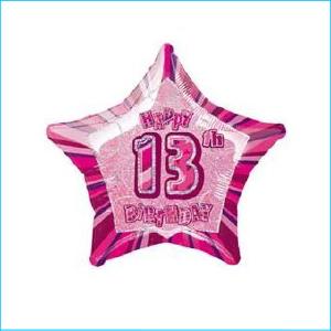 Foil 13th Birthday Star Pink 45cm