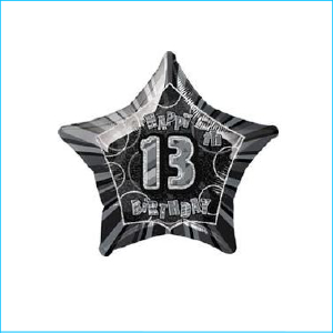 Foil 13th Birthday Star Black 45cm