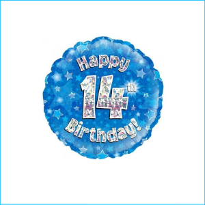 Foil 14th Birthday Holographic Blue 45cm