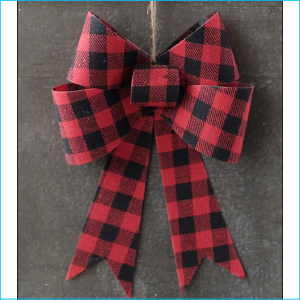 Hanging Bow 30cm Gingham Red & Black