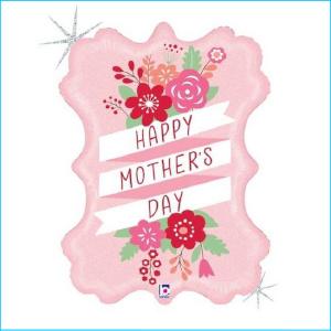 Foil Happy Mother's Day Pink Floral 86cm