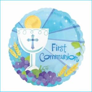 Foil First Communion Blue 45cm