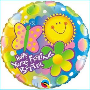 Foil Get Well Soon Flowers & Butterflies