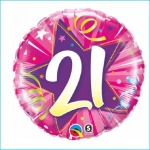 Foil 21st Birthday Shining Star Pink 45c