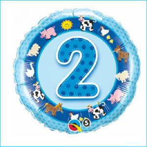 Foil 2nd Birthday Farm Animals Blue 45cm