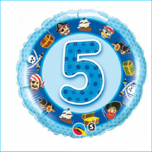 Foil 5th Birthday Pirates Blue 45cm