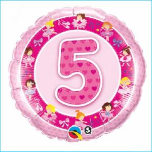 Foil 5th Birthday Ballerinas Pink 45cm