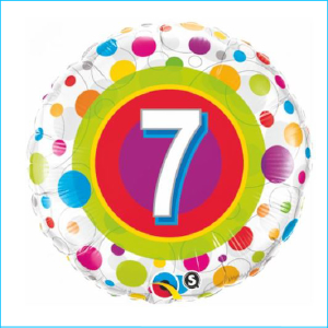 Foil 7th Birthday Colourful Dots 45cm