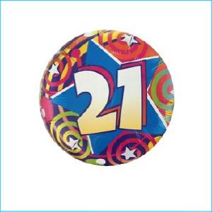 Foil 21st Birthday Stars & Swirls 45cm