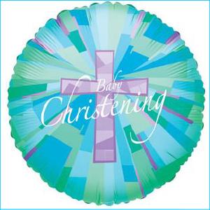 Foil Christening Baby Blue 45cm