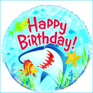 Foil 45cm Happy Birthday Shark A