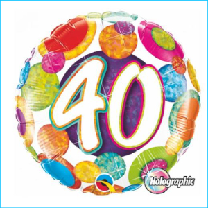 Foil 40th Birthday Holographic Dots 45cm