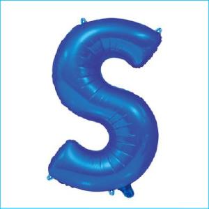 Foil 86cm Blue Letter S