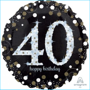 Foil 40th Birthday Holographic Black & S