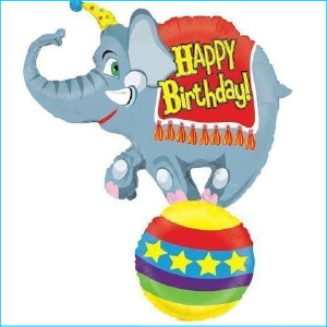 Foil Circus Elephant Happy Birthday 104c