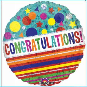 Foil Congratualtions Colourful 45cm