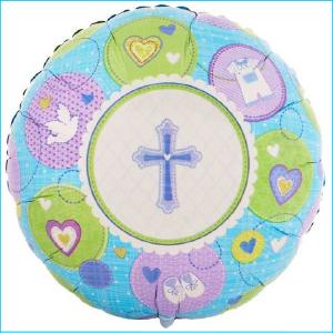 Foil Communion Cross with Doves Blue 45c