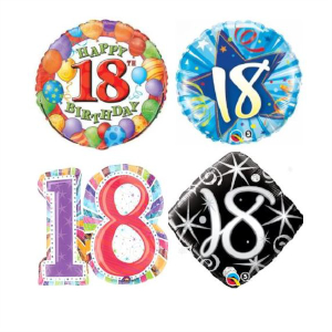 Helium Quality 18th Birthday Foils Unfilled